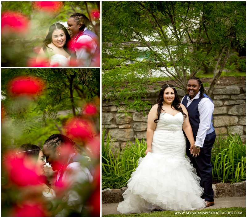 an LGBT wedding photographer photographs a beautiful lesbian couple in a garden, surrounded by roses in Georgetown Texas