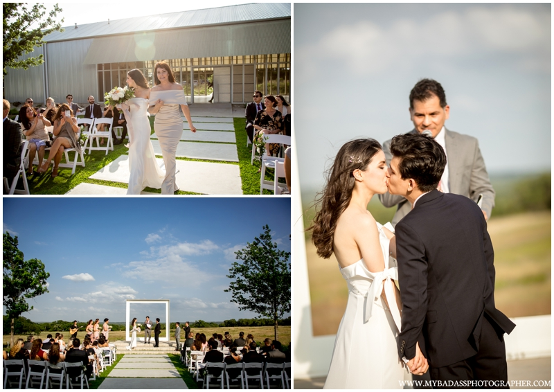 A windy beautiful day where a couple gets married at Prospect House in Austin Texas