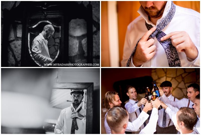 Inspiring Oaks Ranch Wedding // a groom getting ready at a wedding