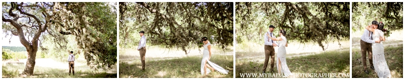 Inspiring Oaks Ranch Wedding - A First look between a bride and groom
