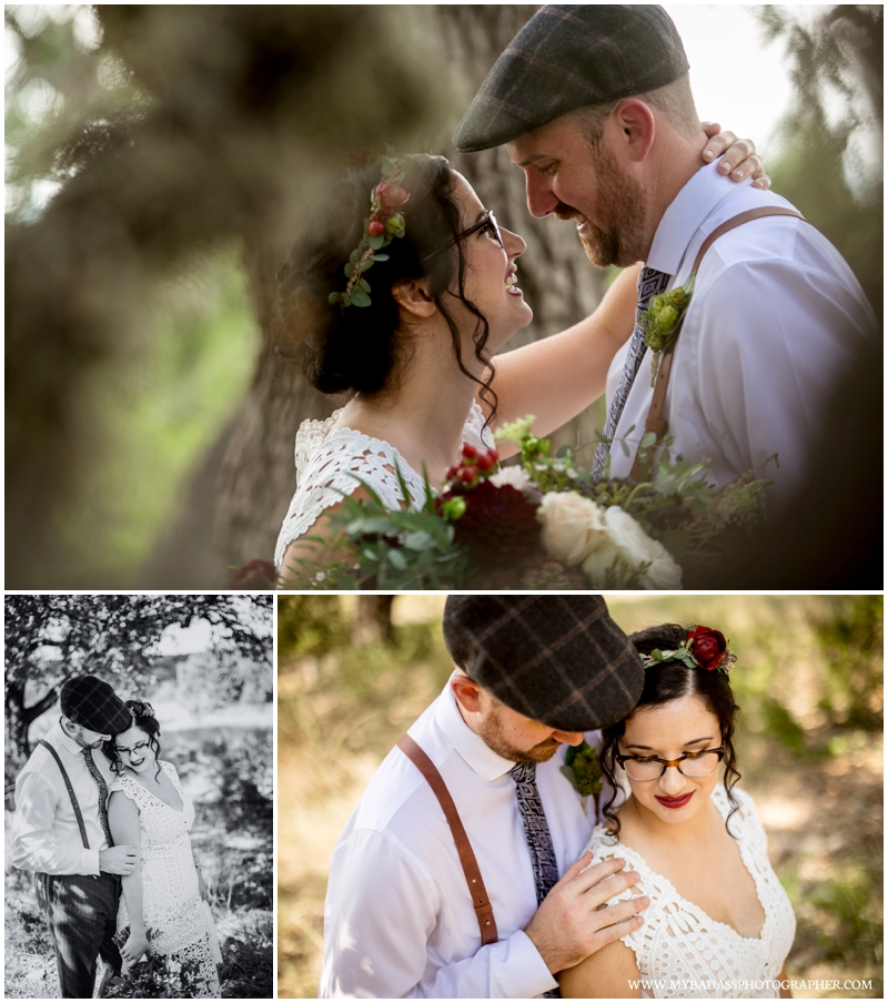 Inspiring Oaks Ranch Wedding - caryn and matt posing for wedding photos