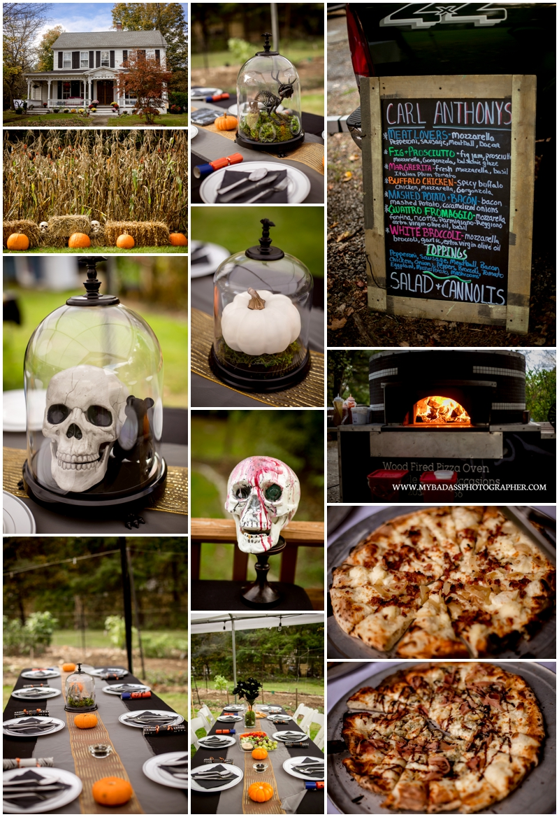 Jewish Backyard Halloween Wedding with skeletons at an historic hour in monroe, connecticut