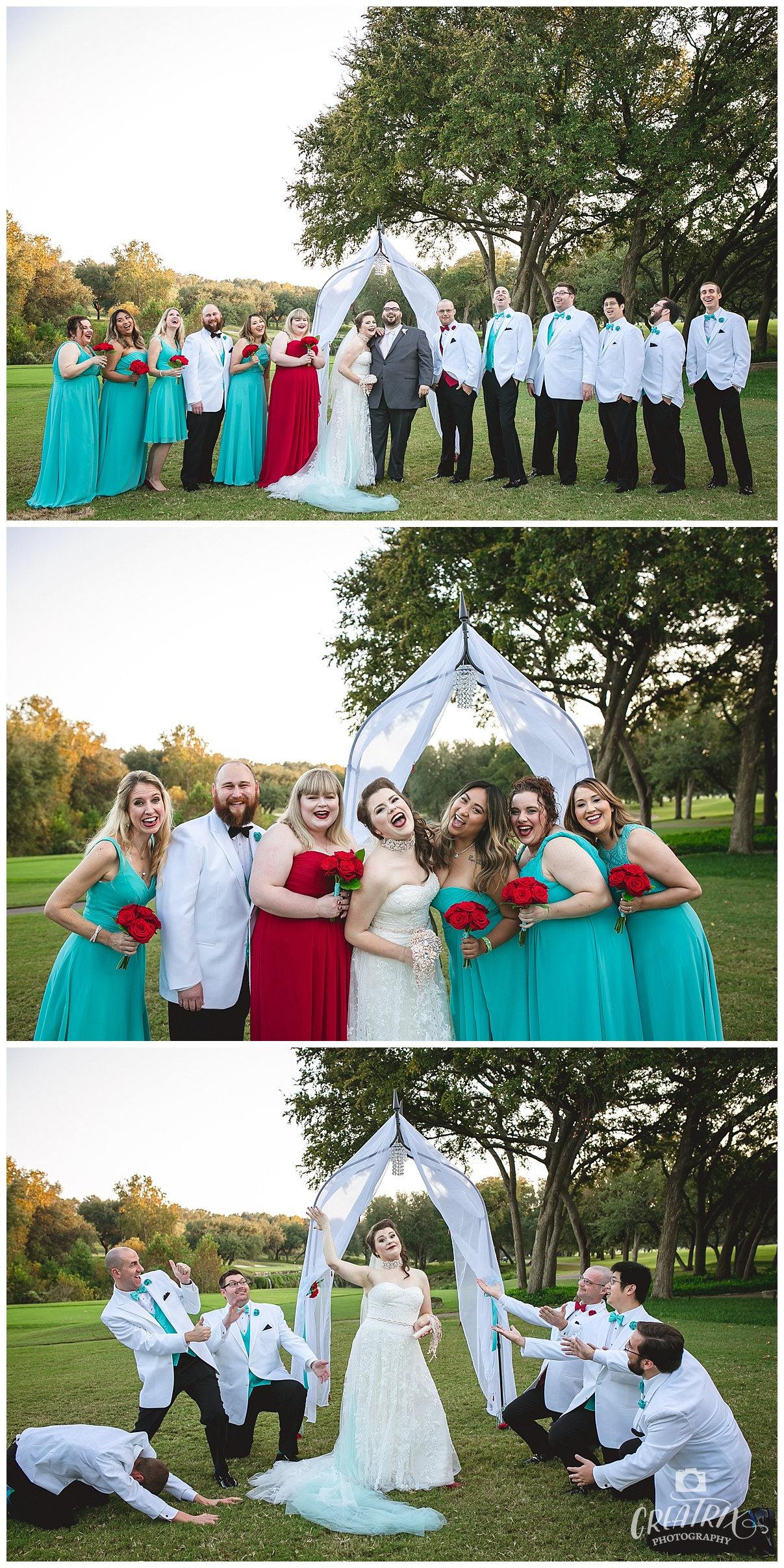 Red and Teal Wedding